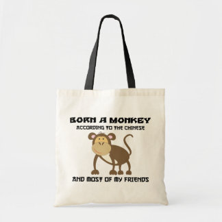 """Funny Year of The Monkey """"Born A Monkey"""" Budget Tote Bag"""