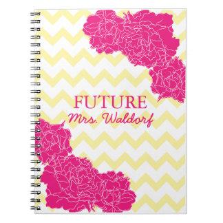 Future Mrs. Peonies and Chevron Notebook