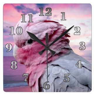 Galah Cockatoo Square Wall Clock
