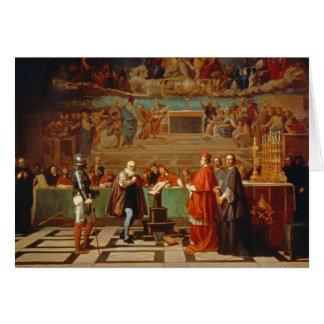 Galileo Galilei (1564-1642) before members of the Greeting Card