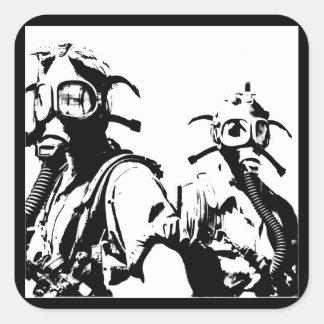Gas Masks in Black Square Sticker