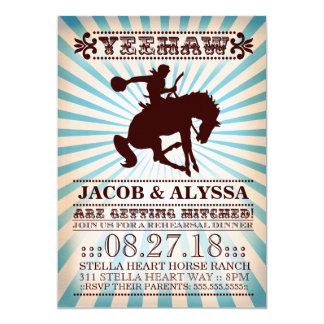 GC Yeehaw Rodeo Rehearsal Blue 13 Cm X 18 Cm Invitation Card
