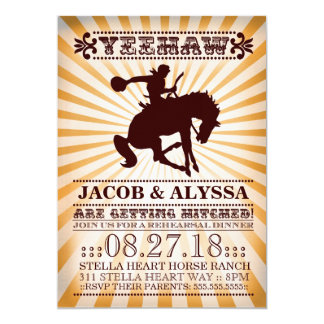 GC Yeehaw Rodeo Rehearsal Yellow 13 Cm X 18 Cm Invitation Card