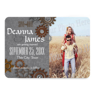 Gears Industrial Steel Grey Save the Date 11 Cm X 16 Cm Invitation Card