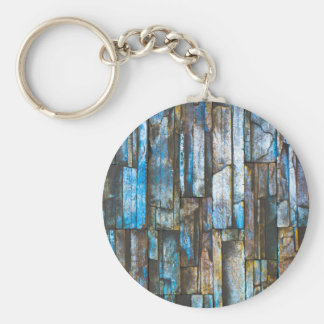 Gem-looking brick wall basic round button key ring