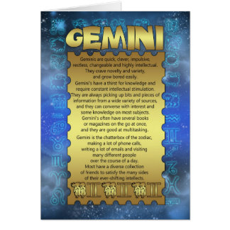 Gemini Birthday Card - Zodiac Birthday Card - Gemi