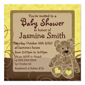 Gender neutral yellow brown teddy shower invites
