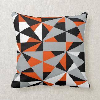 Geometric Bold Retro Funky Orange Black White Throw Cushion
