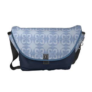 Geometric Floral in Light Blue Messenger Bag