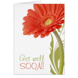 Get Well Soon   Orange Gerbera Daisy Greeting Card