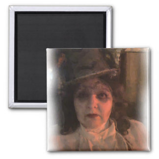 ghost painting square magnet