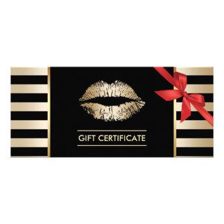 Gift Certificates | Gold Lips Modern Stripes Salon Rack Card Template