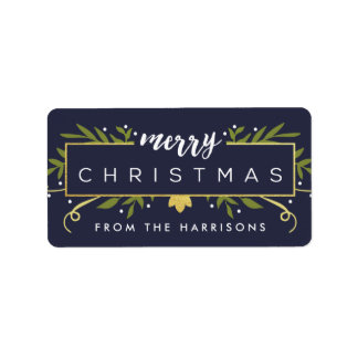 Gilded Christmas Personalized Gift Tags Address Label