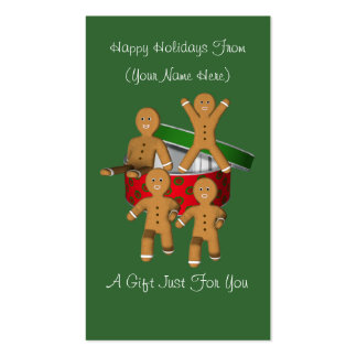 Gingerbread Men Christmas Holiday Gift Card Tag Pack Of Standard Business Cards