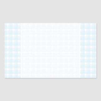Gingham check pattern. Pale Blue and White. Rectangular Sticker