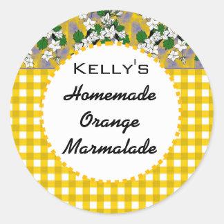 Gingham floral orange marmalade label round sticker