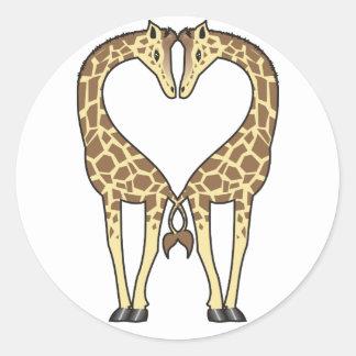 Giraffe Love Round Sticker