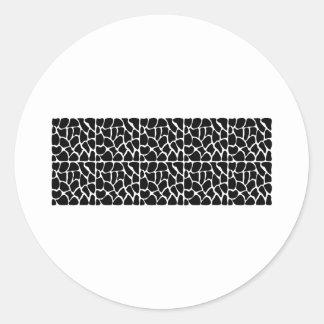 Giraffe Pattern Black & White Round Sticker