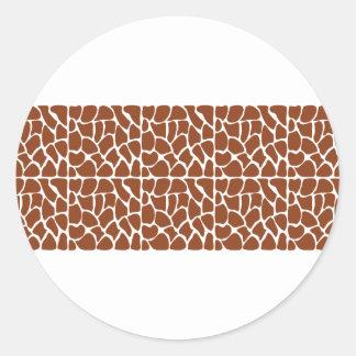 Giraffe Pattern. Brown. Round Sticker