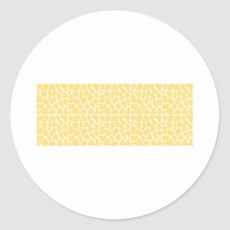 Giraffe Pattern. Yellow. Round Sticker