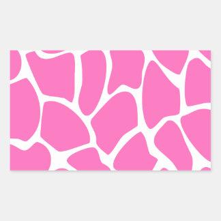 Giraffe Print Pattern in Bright Pink. Rectangular Sticker
