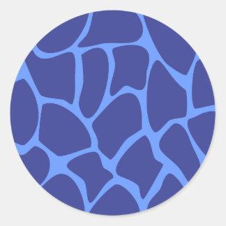 Giraffe Print Pattern in Dark Blue. Round Sticker