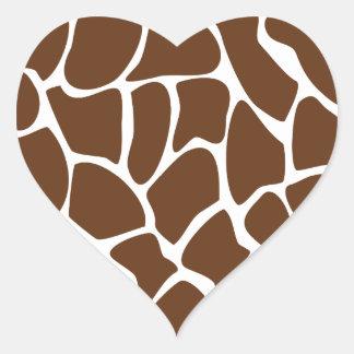 Giraffe Print Pattern in Dark Brown. Heart Sticker