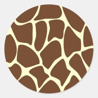 Giraffe Print Pattern in Dark Brown. Round Sticker