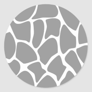 Giraffe Print Pattern in Gray. Round Sticker