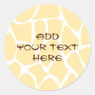 Giraffe Print Pattern in Yellow. Round Sticker