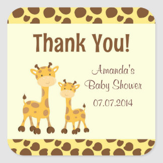 Giraffe Safari Baby Shower Thank You Square Sticker