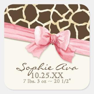 Giraffe Skin Pattern Ribbon n Bow Baby Girl Seals Square Sticker