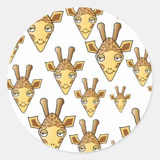 Giraffes Pattern. Round Sticker