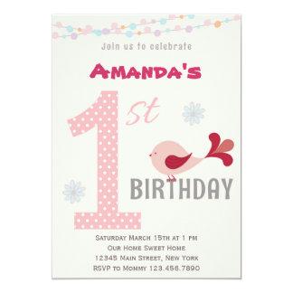 Girl 1st Birthday Party Invitation Bird Pink