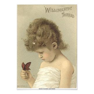 Girl Admiring Butterfly  Ephemera Photo Print