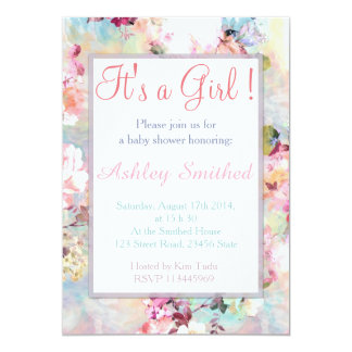 Girl Baby Shower Pink Teal Watercolor Chic Floral 13 Cm X 18 Cm Invitation Card