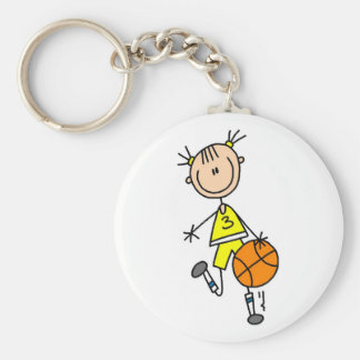 Girl Dribbling Basketball Tshirts and Gifts Basic Round Button Key Ring
