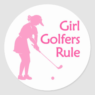 Girl Golfers Rule Round Sticker