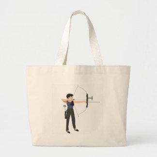 girl shooting archery jumbo tote bag