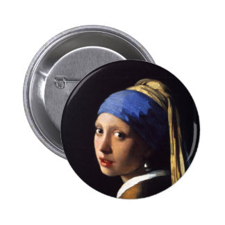 Girl with a pearl earring. By Johannes Vermeer 6 Cm Round Badge