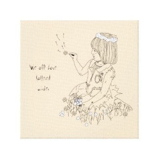 Girl with flowers line art gallery wrapped canvas