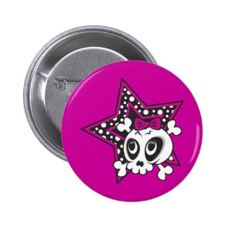 Girlie Emo Skull 6 Cm Round Badge