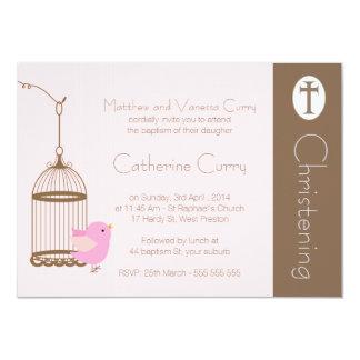 Girls Bird Cage Christening Baptism Invitation