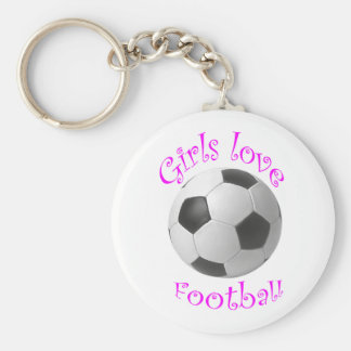 Girls love football art gifts basic round button key ring