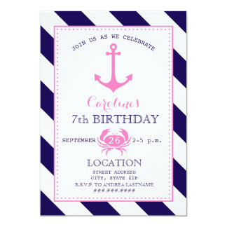 Girl's Nautical Birthday Party - Anchor + Crab 13 Cm X 18 Cm Invitation Card