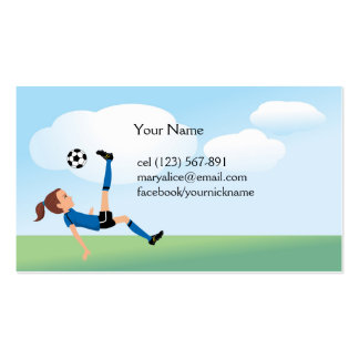 Girl's Soccer Kick Calling Card Pack Of Standard Business Cards