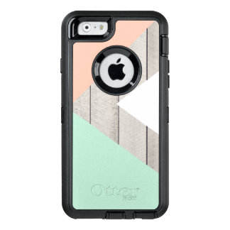 Girly Apricot Teal Gray Wood Modern Color Block OtterBox iPhone 6/6s Case