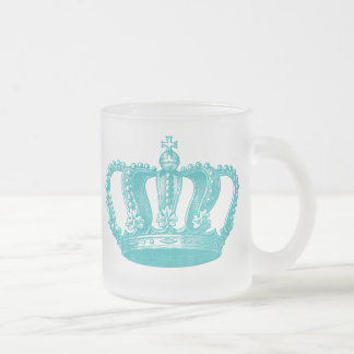 Girly Aqua Blue Vintage Crown Frosted Glass Mug