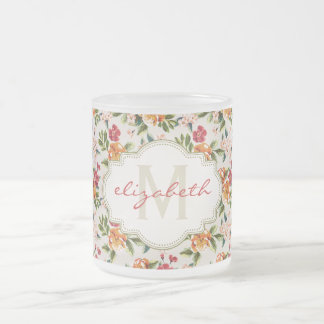 Girly Chic Floral Pattern with Monogram Name Frosted Glass Mug