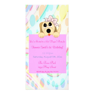Girly Dog with Bow 1st Birthday Sign Customized Photo Card
